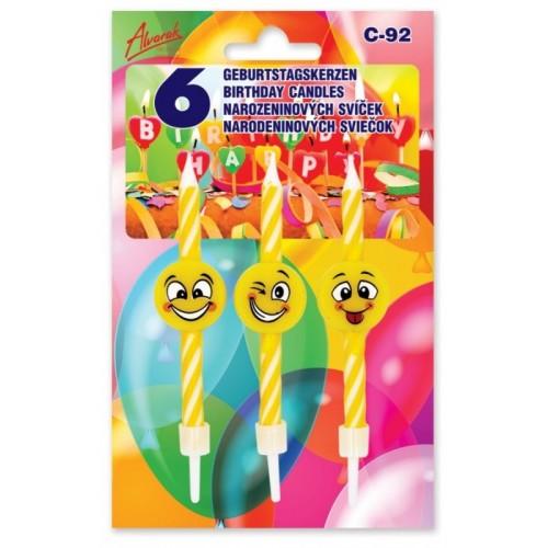 Torten Kerze Mini - verrücktes Emoticon 6pcs