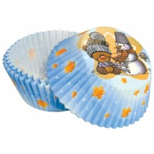 Cukrárske košíčky - medveď + snehuliak 50ks