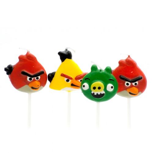 Dortové svíčky Angry Birds 4ks