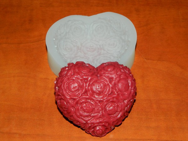 Silikonová formička - srdce s růžemi